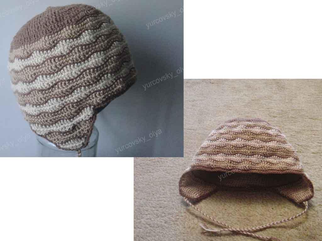 связать крючком зимнюю шапку двойную.
