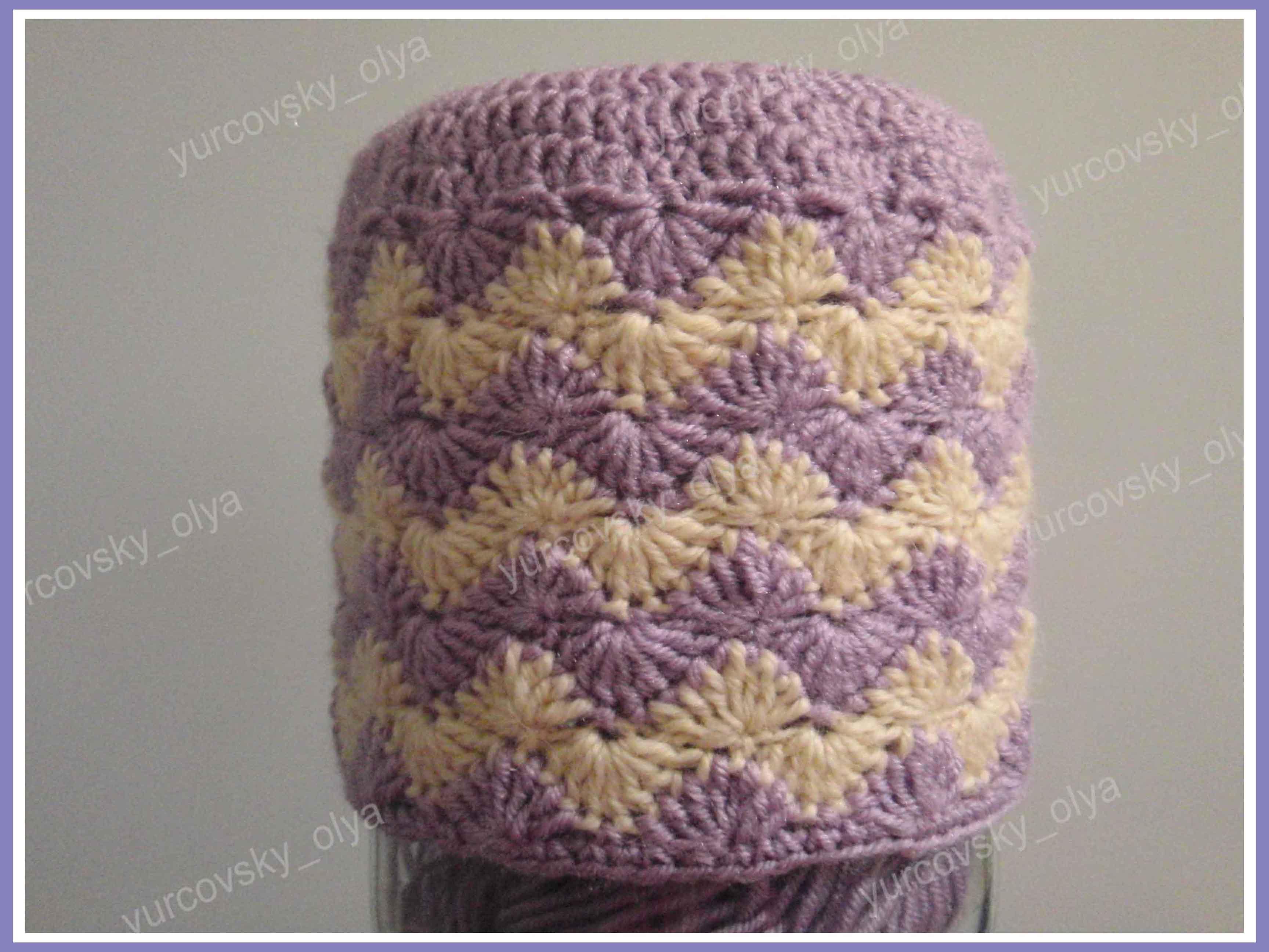 схема косынки-шапки для девочки крючком